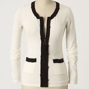 Anthropologie HWR Zip White Ribbon Cardigan